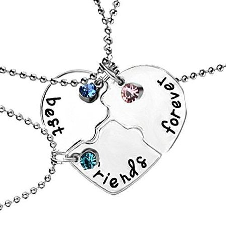 Sexy Sparkles 3 Pcs Set Best Friends Forever and Ever BFF Necklace Engraved Puzzle Friendship Pendant Necklaces (Best Definition Of Friendship)