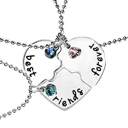 Floral Pendant Necklace Set (Sexy Sparkles 3 Pcs Set Best Friends Forever and Ever BFF Necklace Engraved Puzzle Friendship Pendant Necklaces Set )