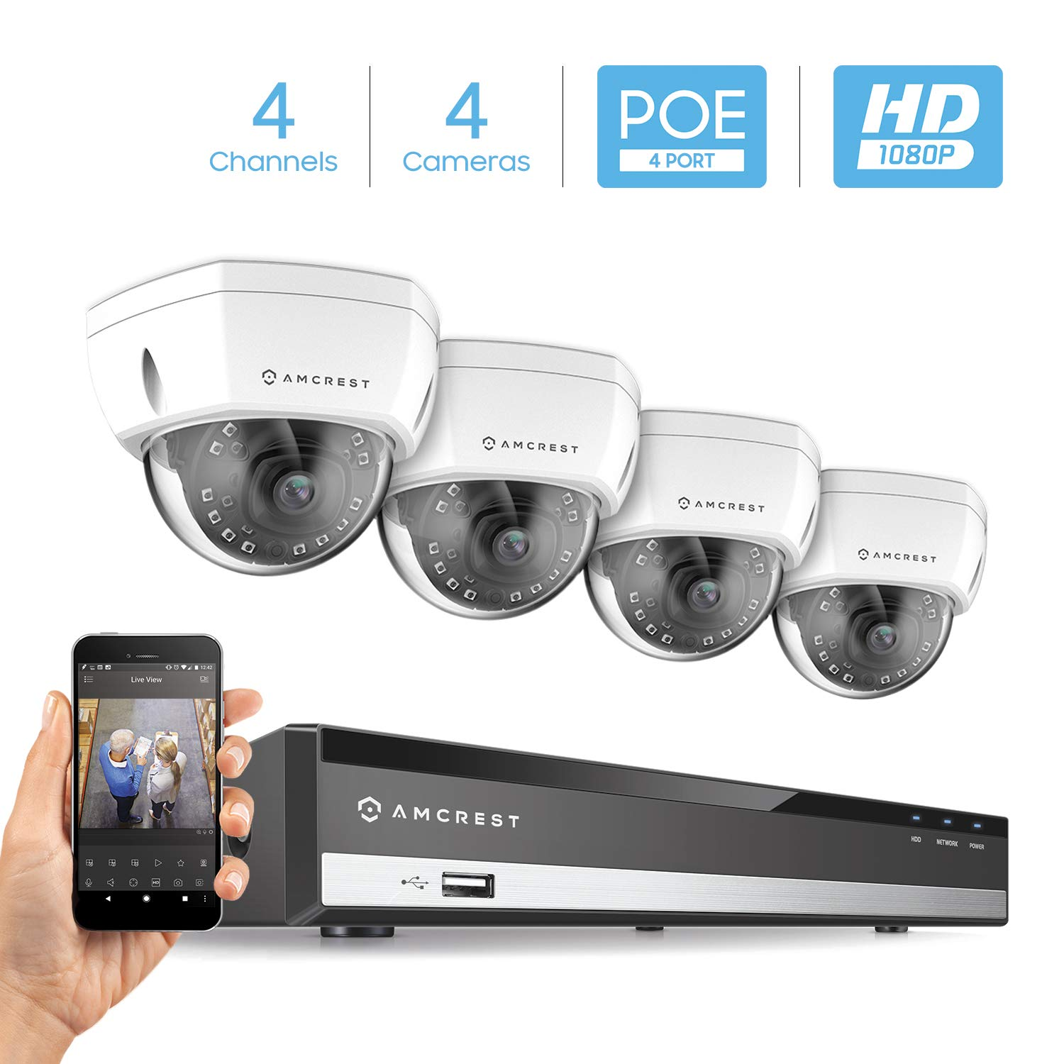 Amcrest 4CH Plug & Play H.265 6MP NVR 2MP 1080P Security Camera System, (4) x 2-Megapixel 3.6mm Wide Angle Lens Weatherproof Metal Dome PoE IP Cameras, 98 Feet Night Vision (White)