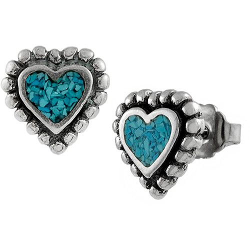 Brinley Co. Turquoise Heart Sterling Silver Stud Earrings
