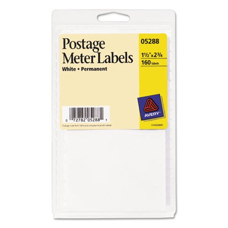 Avery Permanent Adhesive Postage Meter Labels, 1 1/2 x 2 3/4, White, 160/Pack