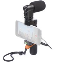 Movo Smartphone Grip Handle Microphone Rig with Stereo Mic, Wrist Strap, Tripod Mount & Cold Shoe Mount - For iPhone, Samsung, HTC, LG, Google, Android