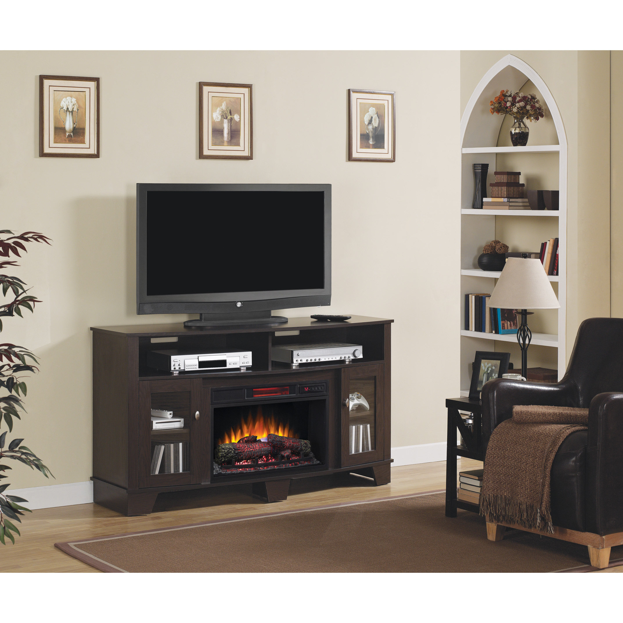 Twin Star Int La Salle Tv Stand With 26 Inch Electric Fireplace