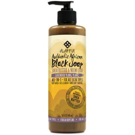 Alaffia Authentic African Black Soap, Lavender Ylang-Ylang 16 oz Lavender Color Brightening