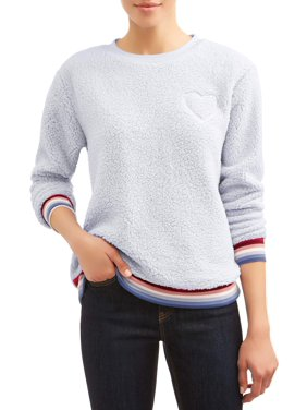 EV1 from Ellen DeGeneres Sherpa Fleece Heart Patch Ombre Sweatshirt