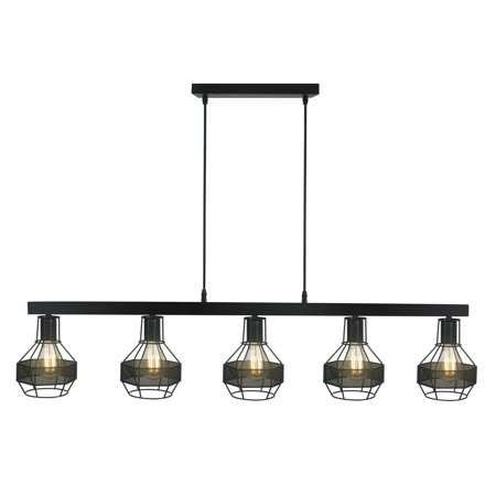 Modern Matte Black Metal Shade Vintage Decor Chandelier,Great Industrial Chic Light for Kitchen, Bar, Island, Dining Room, and Foyer Five Lights and Vintage Edison Cages