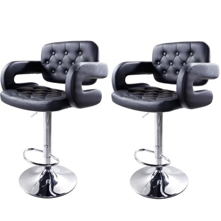 Zimtown Modern Square Back Adjustable Bar Stools with Arm Rest, Set of 2