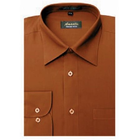 Amanti CL1018-15 1-2x32-33 Amanti Mens Wrinkle Free Rust Dress Shirt - Rust-15 1-2 x 32-33