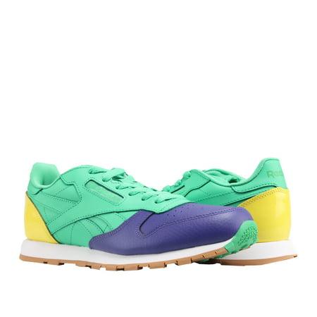 1ed860a0 Reebok Classic Leather Dessert Purple/Green/Yel Big Kids Running Shoes  BS7249