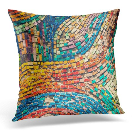 ECCOT Detail Beautiful Old Collapsing Abstract Ceramic Mosaic Adorned Building Venetian As Selective Focus Pillowcase Pillow Cover Cushion Case 18x18 inch