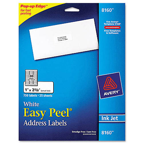"Avery 8160 Easy Peel White Address Labels for Inkjet Printers, 1"" x 2-5/8"", 750 Labels/Pack"