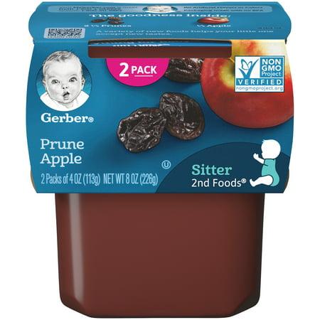 Gerber 2nd Foods Prune Apple Baby Food, 4 oz. Tubs, 2 Count (Pack of 8) (Hipp Baby Food Stage 3)