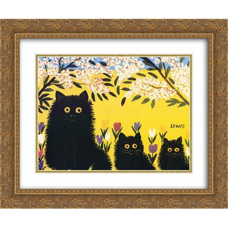 FrameToWall - Three Black Cats 2x Matted 22x18 Gold Ornate Framed Art Print by Maud (Ornate Cap)