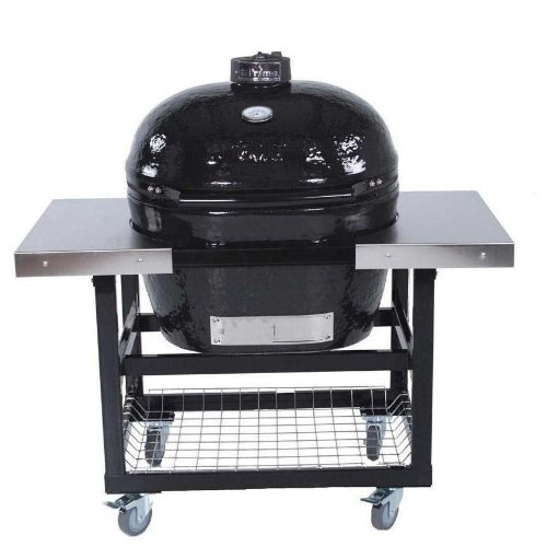 Primo Ceramic Charcoal Smoker Grill On Cart With Side Tables   Oval Xl