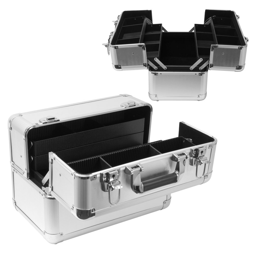 Hard Case Dual Compartment Travel Makeup Box, SILVER, 200