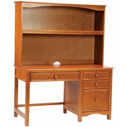 Bolton Furniture Wakefield Pedestal Desk with Hutch Set, Honey