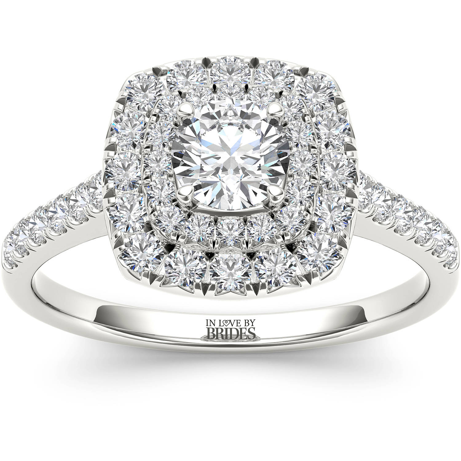 IN LOVE BY BRIDES 1.00 Carat T.W. Certified Diamond Cushion Double Halo 14kt White Gold Engagement Ring