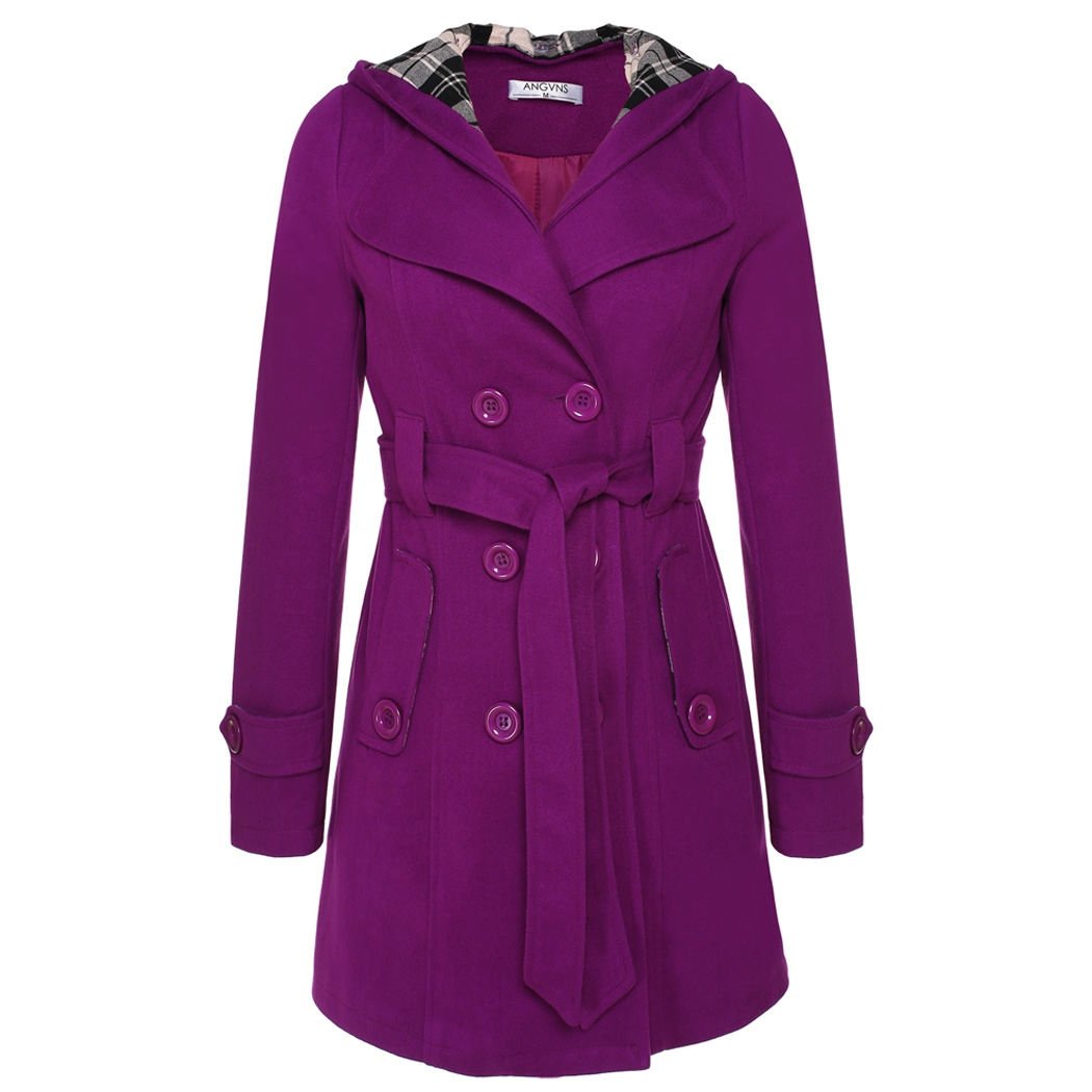 ANGVNS Women's Double Breasted Hooded wool Belted Jacket Coat