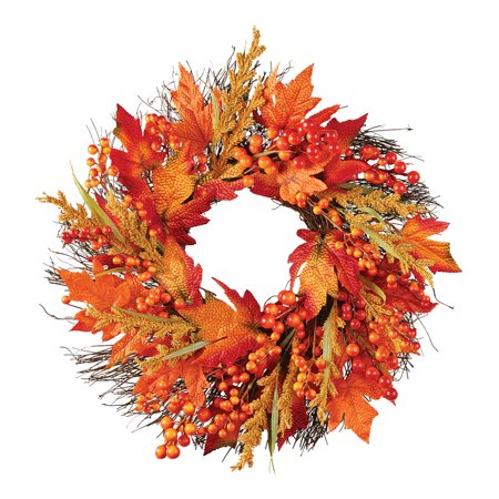 Faux Fall Leaves and Berry Wreath Indoor and Outdoor Home