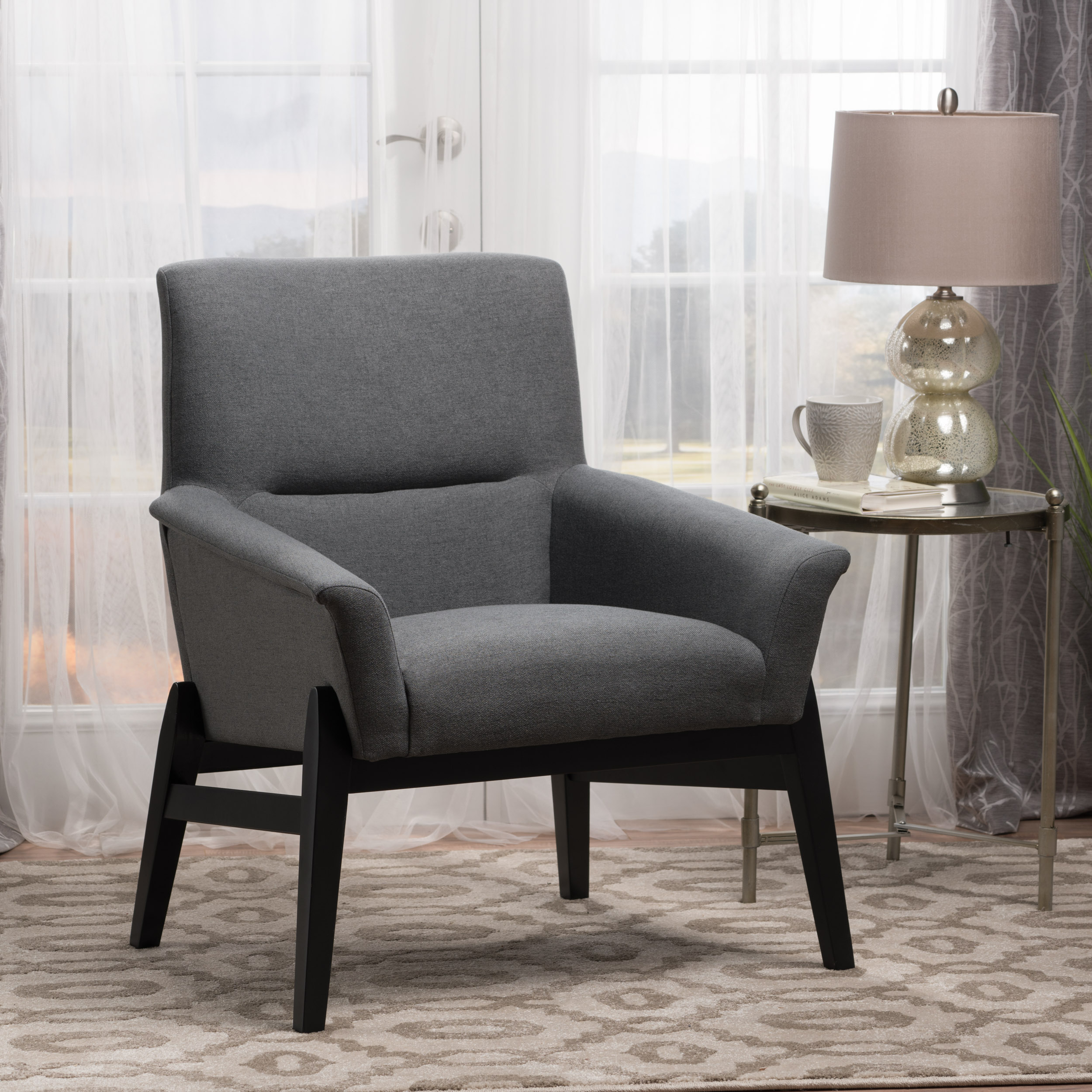 Noble House Modern Fabric Club Chair,Charcoal