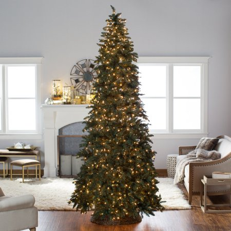 Finley Home 10 ft. Classic Pine Clear Pre-Lit Slim Christmas Tree