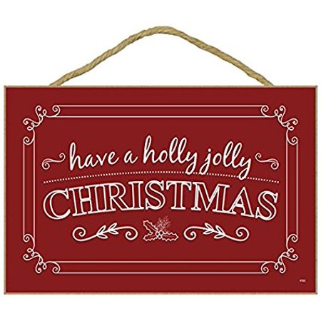 "Christmas Holiday Wall Hanging Decor Plaque Inscribed ""HAVE A HOLLY JOLLY CHRISTMAS"" (7"" x 10.5"" Red Background with White Text and Design) - Holiday Xmas Season Decoration"