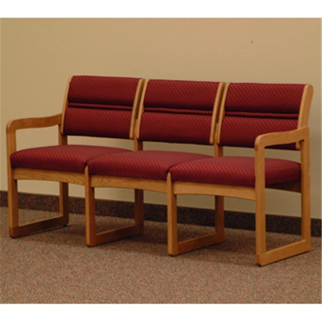 Wooden Mallet DW2-3DMOAW Valley Three Seat Sofa in Medium Oak - Arch Wine