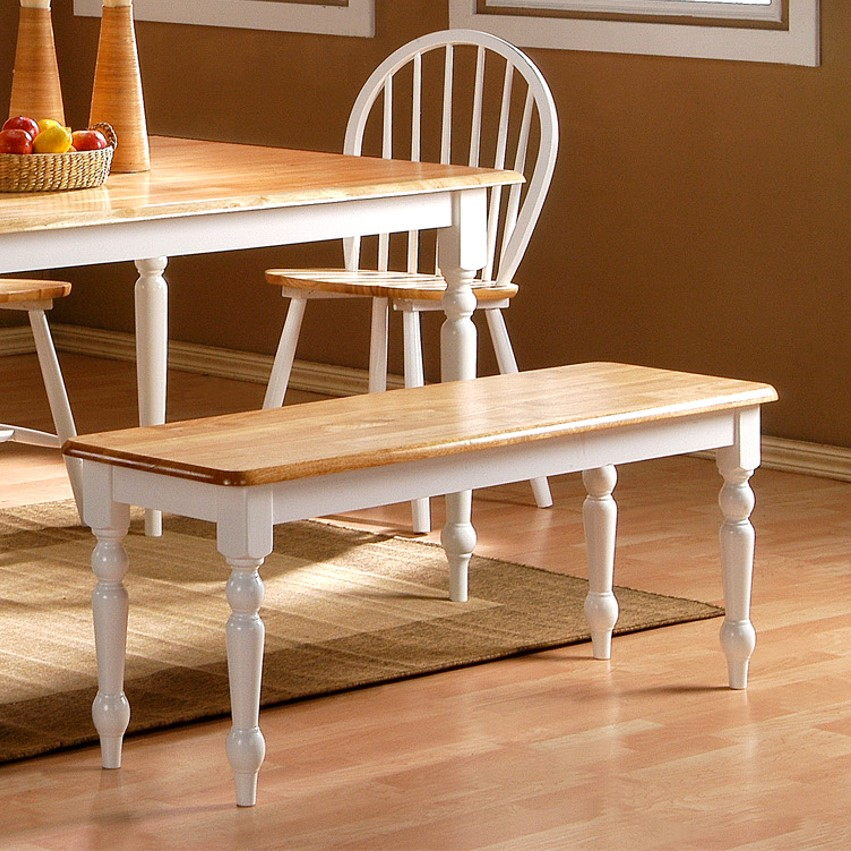 Boraam Farmhouse Dining Bench, White and Natural