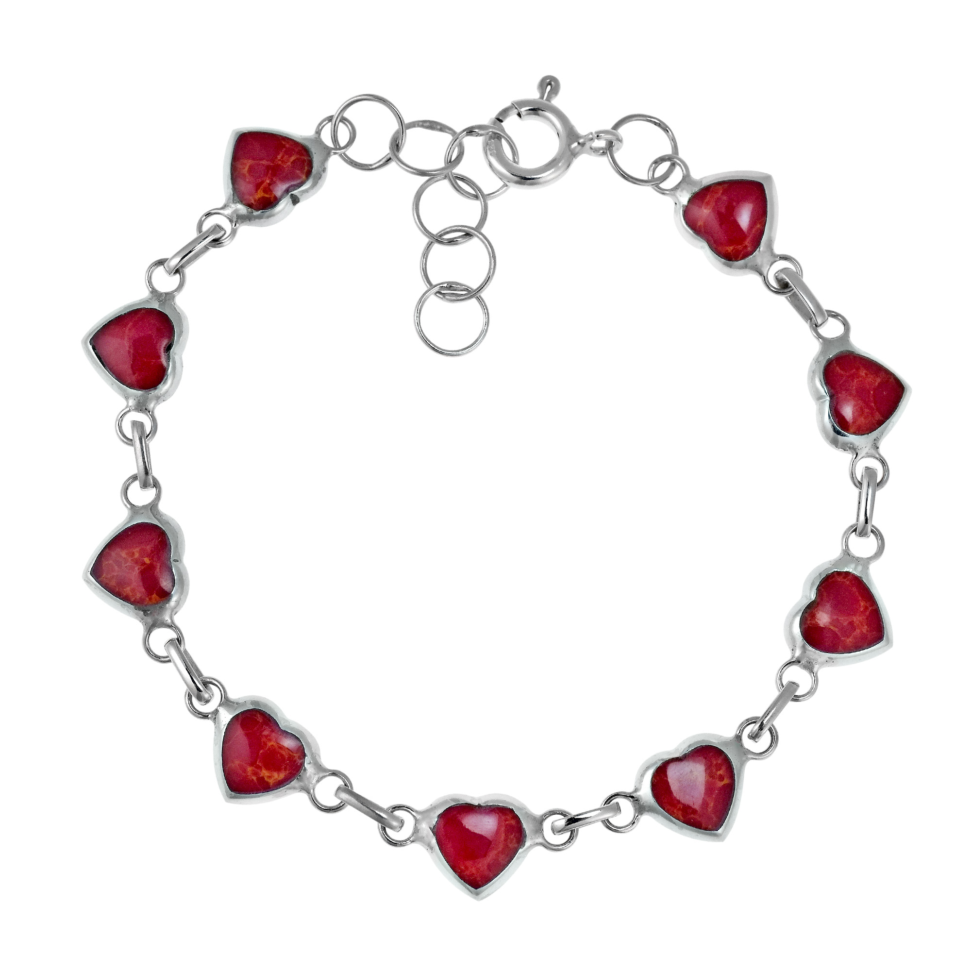 Love All Around Heart Reconstructed Red Coral Inlay .925 Sterling Silver Link Bracelet by