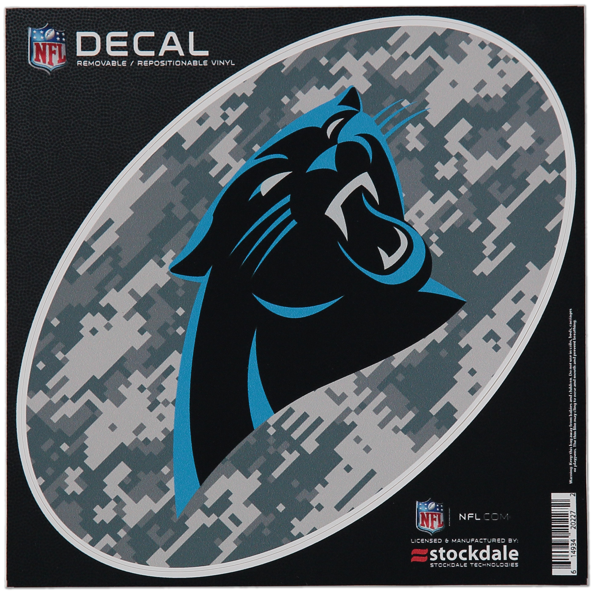"""Carolina Panthers 8"""" x 8"""" Camo Oval Repositionable Decal - No Size"""