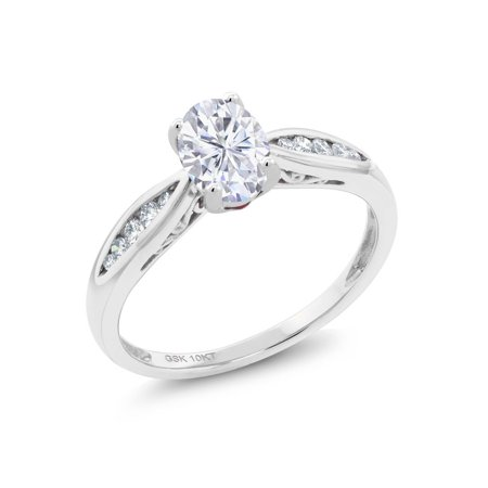 10K White Gold Ring Forever Brilliant GHI Oval Created Moissanite and Diamond (Ghd Oval)