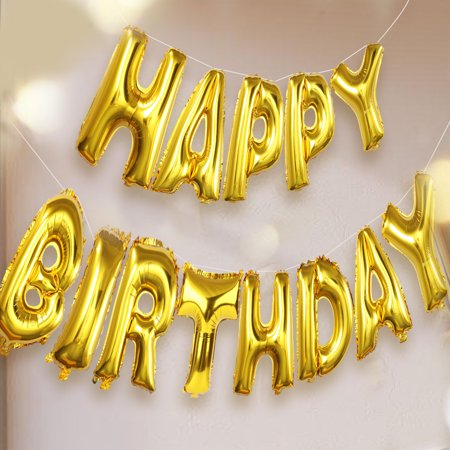 Happy Birthday Balloon(16 inches), Outgeek Mylar Aluminum Foil Happy Birthday Balloons Letter Balloons for Birthday Party Birthday Decoration(Gold) (Letter Mylar Balloons)