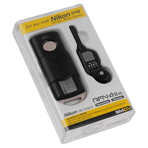 SMDV RFN-4s Slim Wireless Remote Shutter Cable Release, Transmitter and Receiver Kit for Nikon Camera with MC-30 Connection, fit Nikon D800, D800e, D4, D3, D2, D1, D300, D300s, and D200