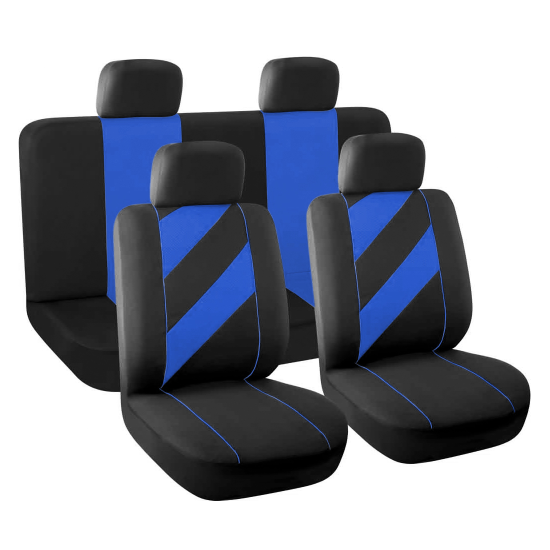 8 Pieces Auto Car Seat Covers with Headrests Full set Gray Black