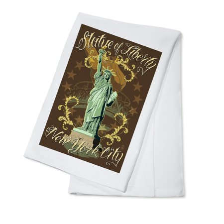 Monument Statue Of Liberty (Statue of Liberty National Monument - New York City, NY - Brown - Lantern Press Poster (100% Cotton Kitchen)