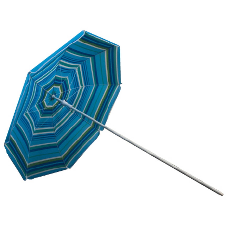 Astella 6' Blue Breeze Stripe Beach Umbrella With Nylon Printed Stripes and UV Coating by Astella