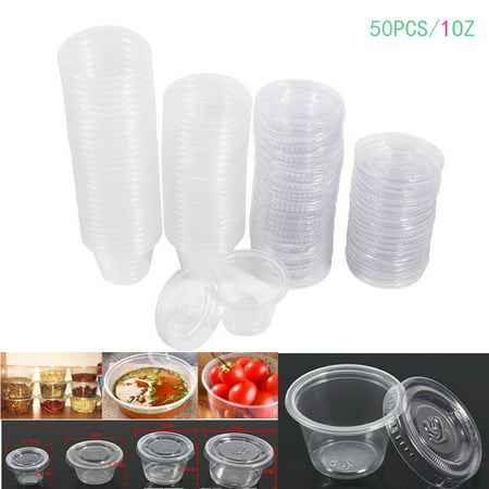 WALFRONT 1 oz Disposable Cups with Lids, 50Pcs Plastic Clear Chutney Sauce Cups Food Takeaway Hot Souffle Portion Container