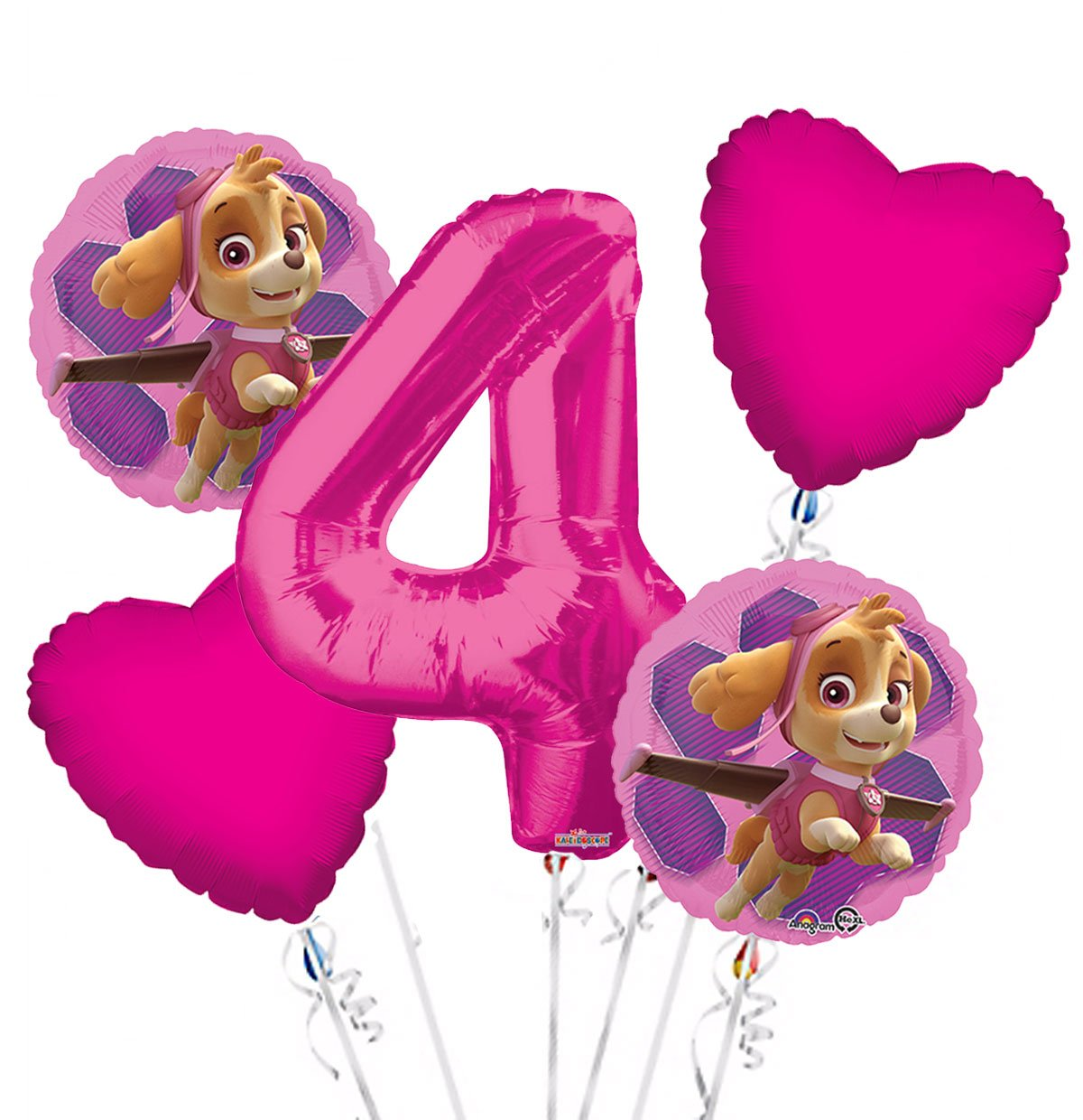 Paw Patrol Girl Balloon Bouquet 4th Birthday 5 pcs - Party Supplies, 1 number #4 34' pink By Viva Party