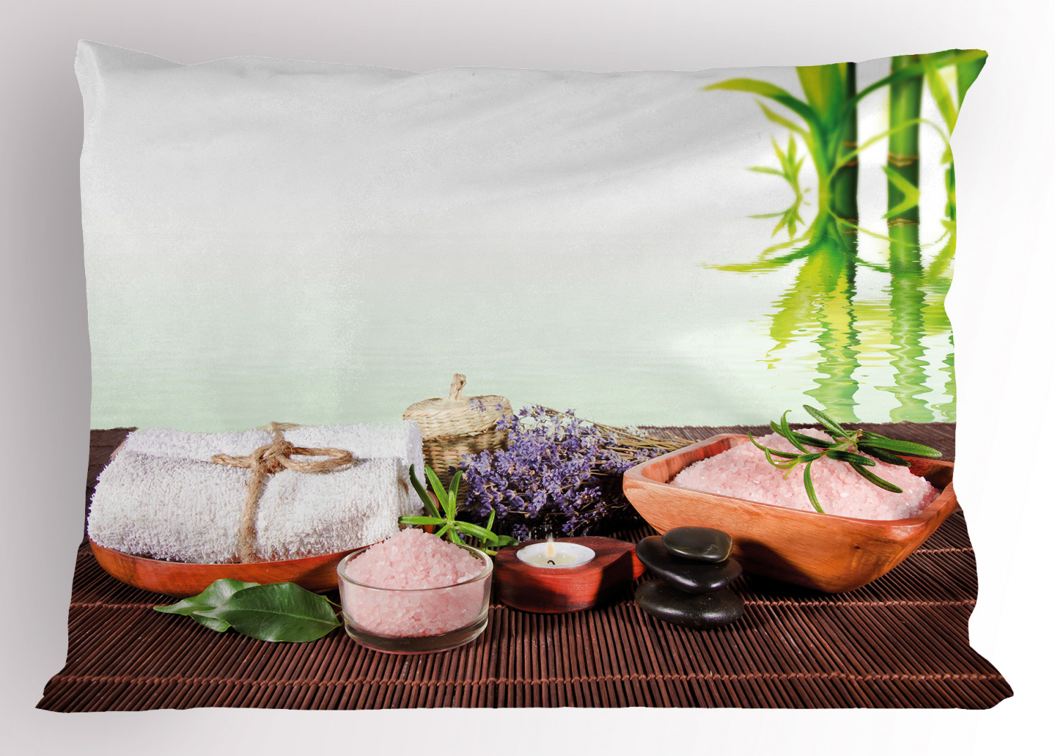 Spa Pillow Sham Bamboo Background With Towel Flowers