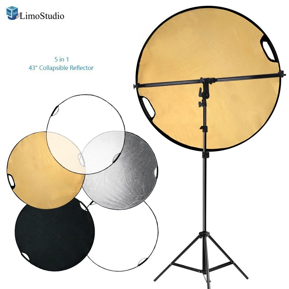 LimoStudio Swivel Head Reflector Support Holder, Boom Stand Arm Bar, Light Stand Tripod with 43 Inch Diameter 5 Color in 1 Round Collapsible Hand Held Reflector Disc Panel, LIWA132