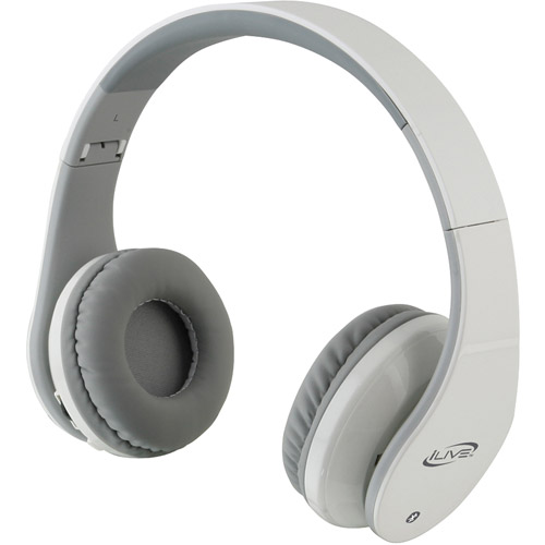 iLive Bluetooth Headphones with Microphone, White