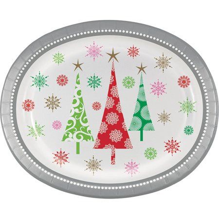 Club Pack of 144 Vibrantly Colored Christmas Trees Printed Oval Dinner Plate 12.1