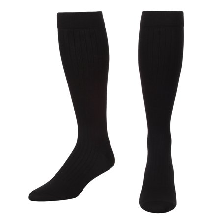 Microfiber and Cotton Compression Socks for men with  - Dress Sock look and feel - Graduated Support Socks 15-20 mmHg - 1 Pair - Made In USA - Absolute Support  - Sku: A1013