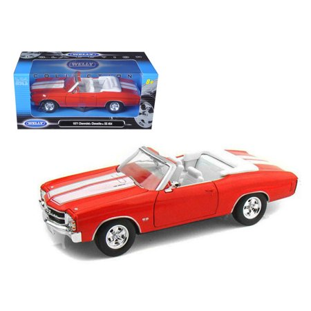 1971 Chevrolet Chevelle Ss 454 Convertible Orange 1 24 Diecast Model Car By Welly