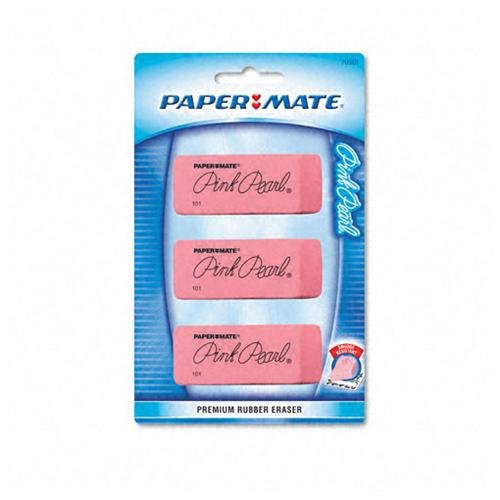 Papermate Pink Pearl Eraser - Soft, Pliable, Smudge-free, Latex-free, Beveled Edge - Rubber - 3/pack - Pink (70501)