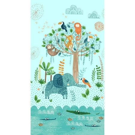Jungle Fever  Animals Panel 24'' x 44'' Children Cotton Fabric by Clothworks - Clothworks Halloween Fabric