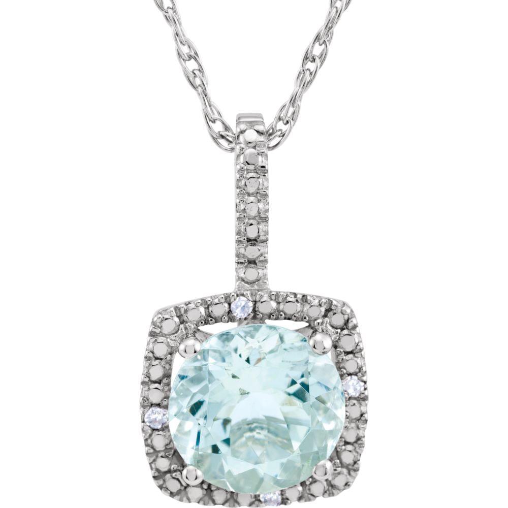 Sterling Silver Round 7mm Aquamarine Aquamarine .015 Dwt Diamond Necklace by