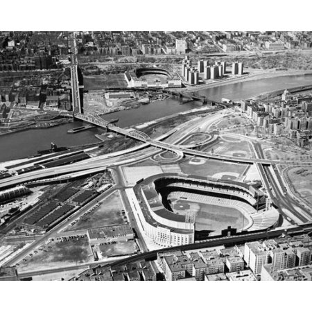 Aerial view of Yankee Stadium and Polo Grounds New York City circa 1955 Photo Print