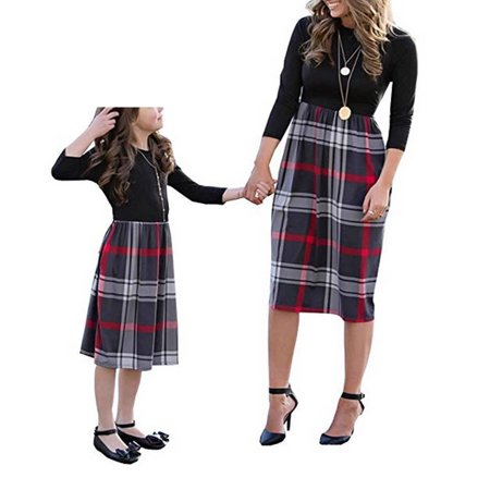 Family Matching Crew Neck Long Sleeve Plaid Dress Mommy and Me High Waist One Piece Stitching Mid-Length Dress - Family Dress