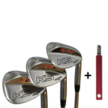 Majek Golf Men's Complete Wedge Set: 52° Gap Wedge (GW), 56° Sand Wedge (SW), 60° Lob Wedge (LW) Right Handed Regular Flex Steel Shaft. + Free Wedge Groove Sharpener - Forged Lob Wedge